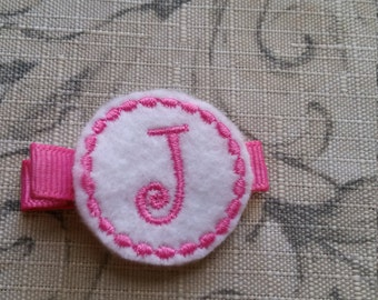 Clearance Pink Monogram Hair Clip Pink Letter J Toddler Hair Clip/ Non Slip Hair Clip / Ready To Ship