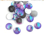 75% OFF- 100pcs Wholesale Scale Cabochons - Purple 12mm Cabochon Disk Flat Back Cab Jewelry Design DIY Glue On - AB Rainbow Glitter Costume