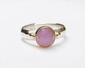 Rose Quartz ring, Gemestone Engagement Ring ,14k gold ring silver ring,Silver sterling  ring,  Women's gift, Birthday gift, Anniversary gift