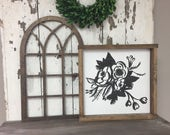 Extra Small 11x18 Wood Vintage Inspired Arch Window Frame