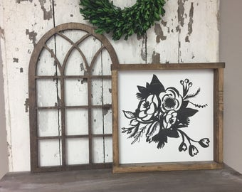 Extra Small 11x18 Wood Vintage Inspired Arch Window Frame VA1-1118