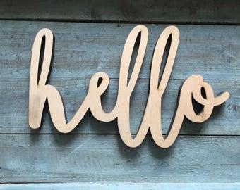 "Mini 12"" Hello Word Wood Cut Wall Art Sign kitchen restaurant home Decor"