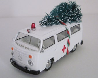 1975 VOLKSWAGON Type 2 AMBULANCE - Christmas Ornament, Christmas Village - Christmas Tree Tied to Top