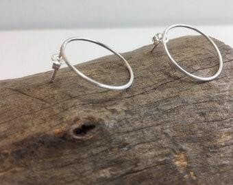 Open Circle Stud Earrings, Minimalistic Sterling Silver Earrings, Small Hoop Earrings, Handcrafted Silver Earrings, Stud Earrings