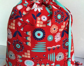 Large Drawstring Project Bag - Sweater Size - Red Simple Flowers - red white aqua-blue navy