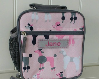 Lunch Bag With Monogram Classic Style Pottery Barn -- Gray/Pink Poodle