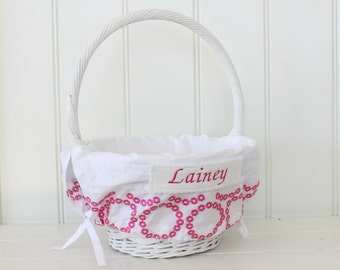 Large Easter Basket Liner -- White with Hot Pink Flower Embroidery -- Free Monogram --