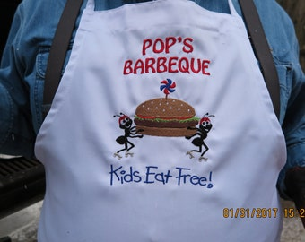 Apron with chefs hat- Fathers Day-Pops Barbeque-Kids Eat Free--Ants running with Hamburger