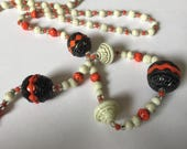 Vintage 1920s egyptian revival greek key pattern antique glass long bead necklace  attb Neiger brothers