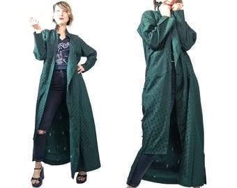 1940s to 1950s Green Polka Dot Chinese Rayon Brocade Robe/ Duster