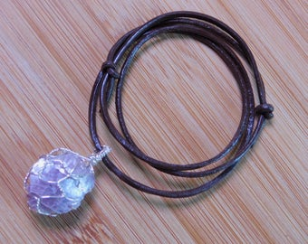Lepidolite Mica Stone Argentium Silver Wire Wrapped Pendant Rock Wrap Renaissance Crystal Healing Fantasy