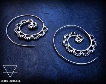 Boucles d'oreille tribal spirales # boucles ethniques # boucles indiennes  # boucles plaquées argent