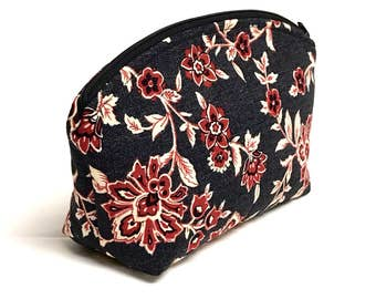 XL Domed Make-Up Bag in Deep Red and Cream Botanical Print on a Black Background