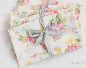 "photo print packaging 4""x6"" size, set of 5 pink and yellow floral envelopes gray recycled ribbon"