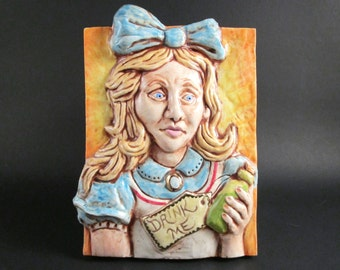 "Ceramic Art Tile, ALICE In WONDERLAND - ""Drink Me"", Handmade Wall Art Plaque, Lewis Carroll Children's Classic Book"