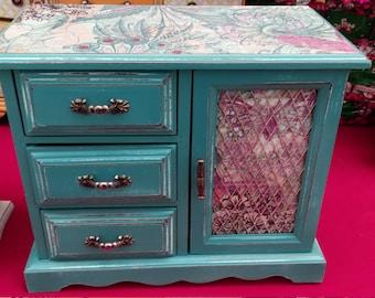 Shabby Chic Turquiose Boho Jewelry Box
