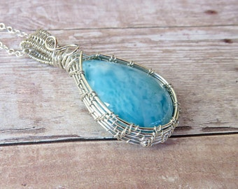 Larimar Cabochon - Wrapped Pendant - Sterling Wire Wrapped Larimar - Larimar Necklace