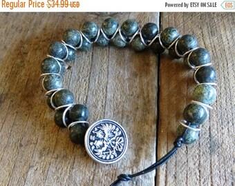Wrapped Leather Beaded Bracelet - Goddess Bracelet - Beaded Goddess Bracelet - Green Wrap Bracelet - Bridesmaid Gift - Teacher Gift