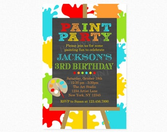 Art Birthday Party Invitation, Paint Birthday Party Invitation, Boy, Red, Blue, Green, Printable or Printed