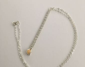Silver & Opal Needles Lariat Necklace
