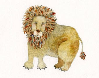 Friendly Lion painting. Original pencil and watercolour of a Lion 8x8 inches