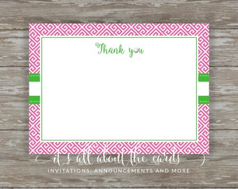 Set of 6 - 5 x 7 FLAT Golf note cards with envelopes - Pink/Green golf thank you!