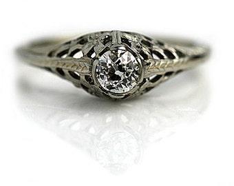 Antique Solitaire Engagement Ring .35ctw Vintage Diamond Engagement Ring Art Deco Filigree Ring 14K White Gold Ring European Cut Ring!