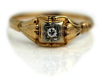 Engagement Rings For Him Vintage Deco Engagement Ring .05ctw European Cut Diamond 1940s Deco Engagement Ring 14k Two Tone Gold Unique Ring!