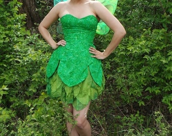 Rhinestone Tinkerbell Costume Dress AND Wings Disney style cosplay fairy costume