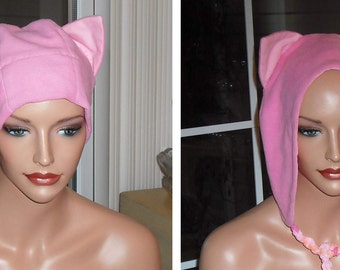 Pink Fleece Pussy Cat Hat Women Fashion Accessory Polyester Lined Braided Ties Ultra Fluffy Fabric Washington March United