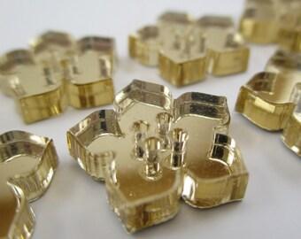 6 pcs Acrylic Flower Buttons - 15mm - Plexiglass Button - Plastic Button - Fashion Scrapbooking sewing - Golden Mirror (BUP010GM)