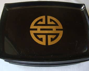 12 Vintage PLASTIC STACK TRAYS Serving Trays Bar Trays Snack Trays Black & Gold Asian Snack Trays Melmac Trays