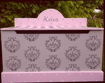 Girls Toy Box, Nursery Chest, Damask, Pink Grey, Toy Benches, Toy Storage, Toy Bin,  Personalized, Toddler, Baby Shower Gift