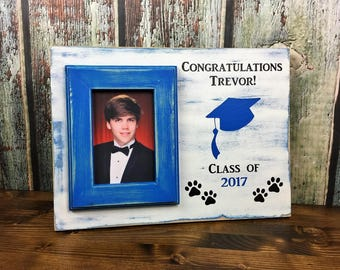 Hand Painted, Personalized Picture Frame, 4 x 6 Blue Picture Frame, Graduation Frame, Graduation Gift, Class of 2017