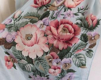 "Lovely Light Blue Floral Soft Silk Scarf // 11"" x 52"" Long"
