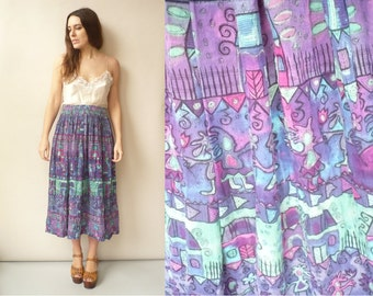 Vintage Indian Cotton Gauze Aztec Pattern Hippie Bohemian Gypsy Crinkle Midi Skirt