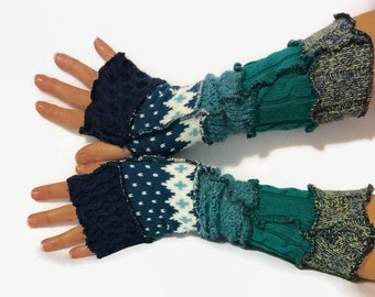 Upcycled Fingerless Gloves  Teal Blue Green Armwarmers Recycled Wrist warmers Stripe Knit Fingerless Mittens fashion accessories