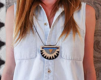 SALE: Modern Tan, Black Triangular, Turquoise and Gold Geometric  x Polyurethane and Leather Southwestern Necklace