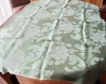 Antique Fabric Satin Damask Mint Green  32 x 48