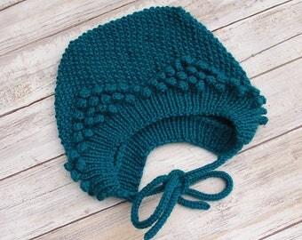 Popcorn Baby Bonnet. Hand Knit Baby Bonnet. Teal Popcorn Baby Bonnet. Popcorn Baby Hat.