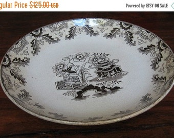 ON SALE Antique Bowl 1870 Brown Transferware Wood Baggaley Staffordshire England Victorian Era Collectible Japanese No