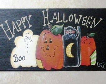 Hand Painted Sign Happy Halloween Prim Pumpkin Ghost OFG Team Scary Halloween Home Decor Wall Hanging