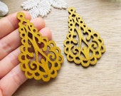 WP38 / #12 Sand / Wood Filigree Tear Shape Lace Dangle /Laser Cut Lace Charm / Pendant /  Filigree Wood Gift /Light earrings