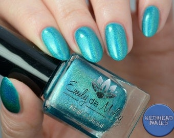 "Nail polish - ""Transpire"" bright turquoise linear holographic polish"