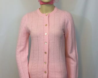Vintage 1970's Pink Button Down Cardigan Sweater// Wintuk Orlon Acrylic Ladies Small // Open Weave Pattern