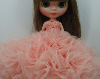 Blythe Outfit Clothing Cloth Fashion handcrafted beads lace tutu gown dress  45-9