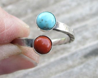 Turquoise and Red Jasper Sterling Silver Adjustable Ring Size 5 1/2 to a 6 1/2