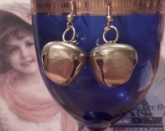 Jingling Cowbell dangle brass earrings Tibetan Minimalist zen Earrings