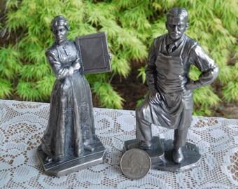 Vintage American Sculpture Society Pewter Figurines School Marm and Storekeeper