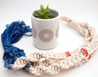 Ceramic Planter and Macrame Hanging with Beads